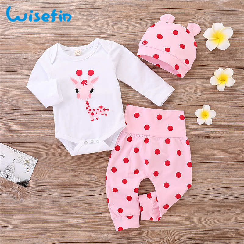 Wisefin Polka Dot Newborn Baby Girl Outfits Set Cute Giraffe Infant Girl Clothing With Hat Winter Autumn Baby Clothes For Girl
