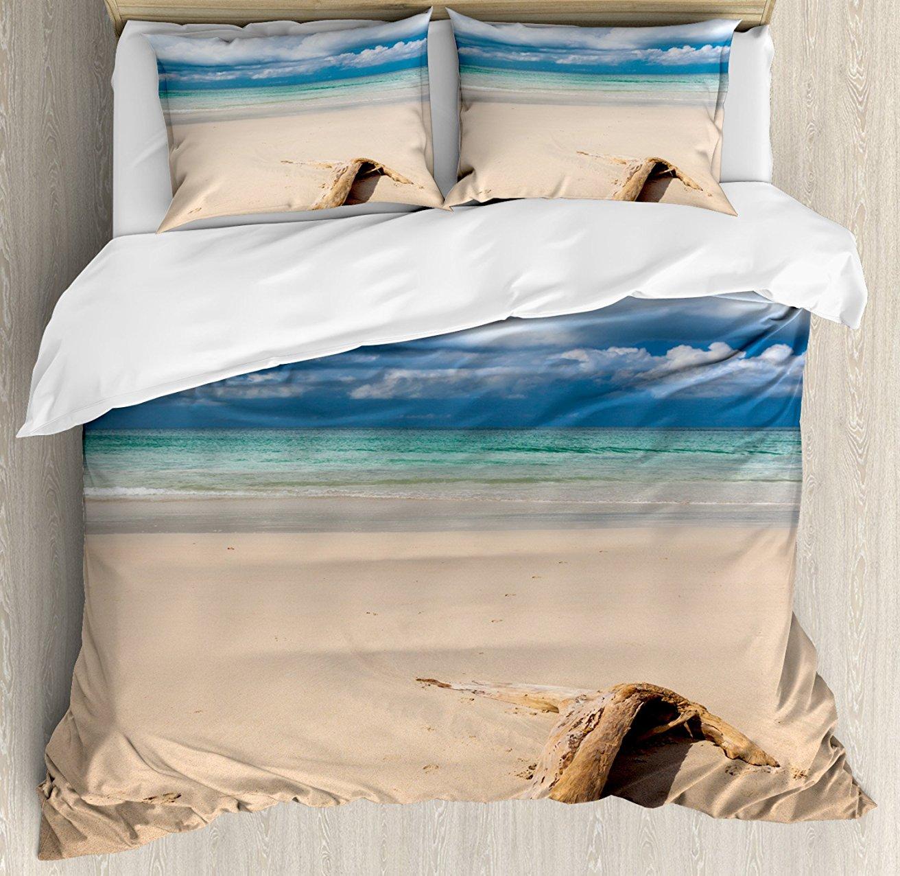Ensemble housse de couette décor bois flotté, thème mer bois flotté sur la plage de sable et ciel nuageux impression numérique, ensemble de literie 4 pièces