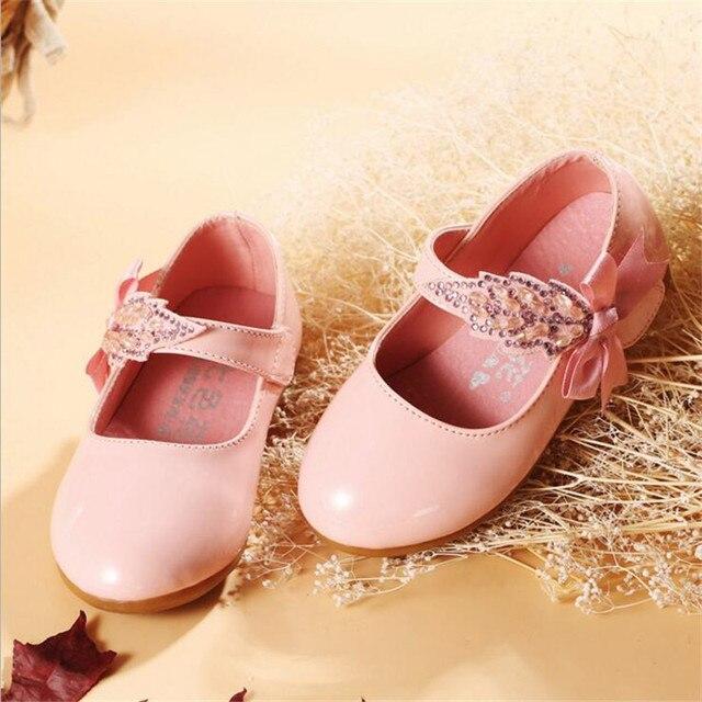 Children Princess Shoes Pink  Black White Band Soft Sole PU Leather Fashion  Bowknot Rhinestone Flower Girls Dress Dance Shoes 781a133a21b5