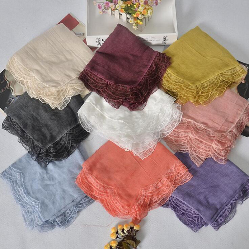 2016 New Design Cotton Patchwork Lace Scarf Soild Shawls For Women Winter Muslim Hijab Bandana Ethnic Style Pashmina