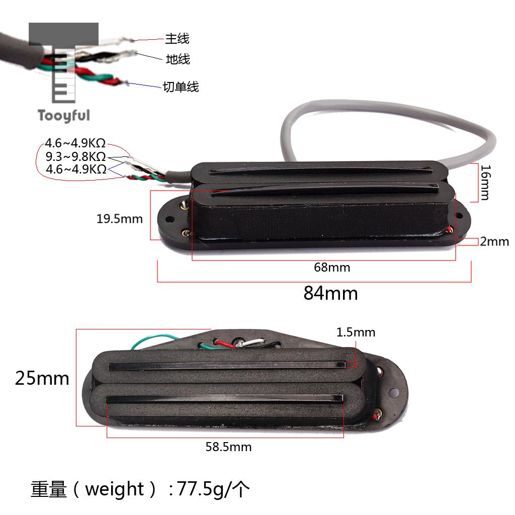 hight resolution of tooyful professional 1pc promotion belcat guitar hot rails pickup for st parts mini humbucker stratocaster electric guitar acce