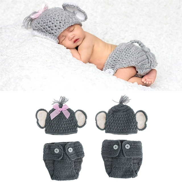 Crochet Baby Elephant Photography Props Newborn Elephant Knit Crochet Hat  Costume Photo Outfits ee9a0382955