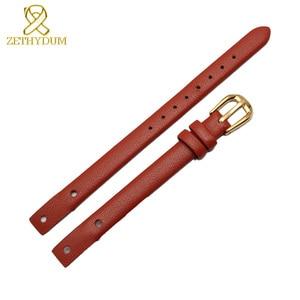 Image 2 - Bracelet montre en cuir véritable pour femme, petit bracelet à la mode, 7mm, 8mm, avec vis, pour fossil ES4340, ES4119, ES4000, bracelet de montre