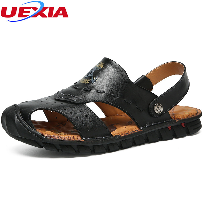 UEXIA Outdoor Leather Sandals Men Hole Double Breathable Two Wear Sandalias Wear-resistant Flip Flop Slippers Hollow Shoes Men