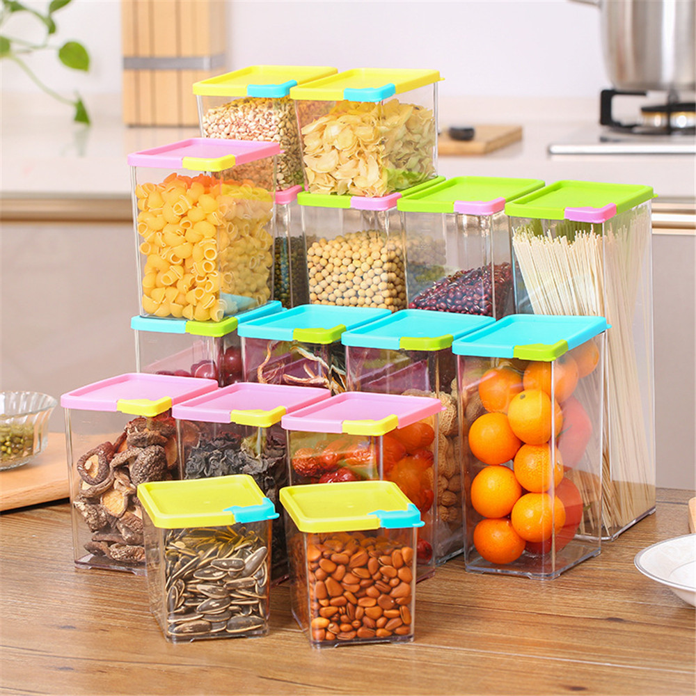 Kitchen Supplies Storage Sealed Cans 560/800/1070/1620ml Sealed Food Container Plastic Dustproof Storage Box For Cereals Foods
