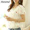 Fashion Sweet Short Sleeve Blusa De Renda Femininas 2017 Gauze Lace Loose Round Neck Floral Women Chiffon Blouse Tops c50