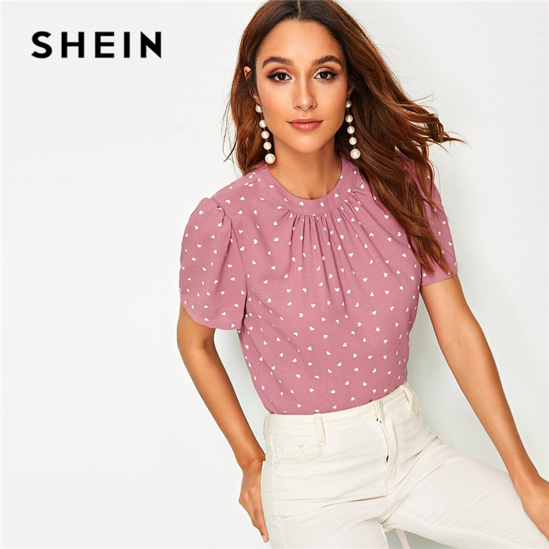 SHEIN Pink Gathered Neck Puff Sleeve Confetti Heart Print Summer Blouse Round Neck Short Sleeve Casual Womens Tops And Blouses