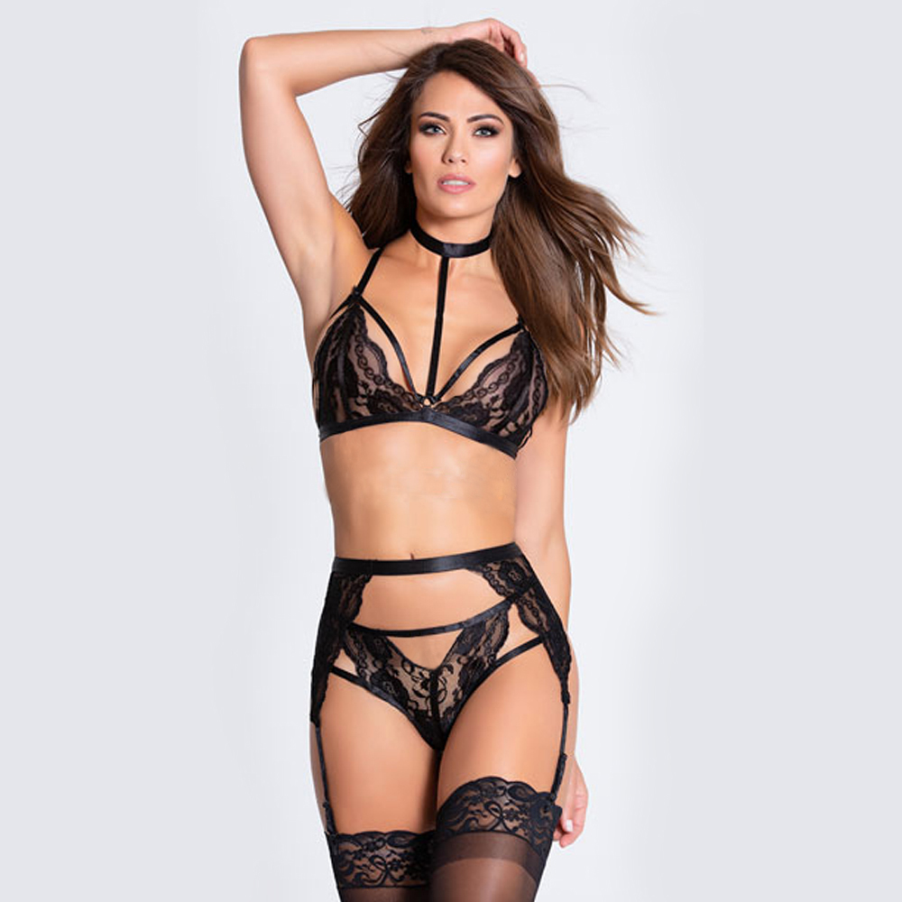 CWXANS sexy   bra     set   women Garters mesh bandage push up lace lingerie bralette wire free   bras   seamless thong panties underwear