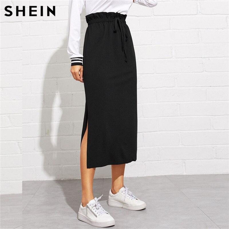 SHEIN Black Paperbag Waist Split Side Skirt Autumn  Casual Workwear Women Maxi Skirt High Waist Belted Split Hem Midi Skirt 1