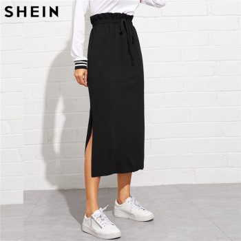SHEIN Black Paperbag Waist Split Side Skirt Autumn  Casual Workwear Women Maxi Skirt High Waist Belted Split Hem Midi Skirt