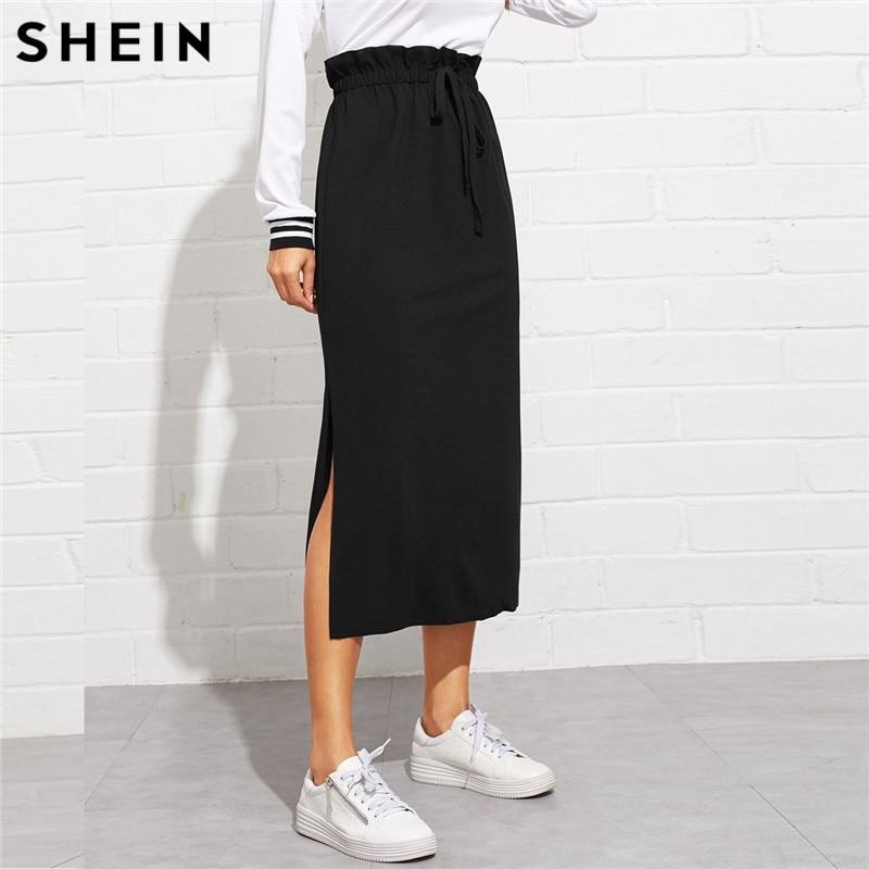 SHEIN Black Paperbag Waist Split Side Skirt Autumn  Casual Workwear Women Maxi Skirt High Waist Belted Split Hem Midi Skirt