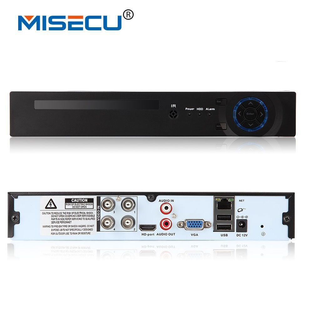 MISECU 4CH Full HD1080P AHD-H CCTV DVR Recorder 3 in 1 for AHD camera analog camera P2P NVR cctv system DVR H.264 VGA HDMI