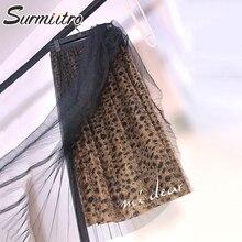 Surmiitro модная леопардовая Тюлевая юбка для женщин осень зима миди длинная Корейская элегантная Высокая талия плиссированная трапециевидная юбка для женщин