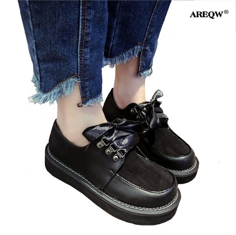 2f52e5f4d84d AREQW 2017 spring large round head small leather shoes woman ribbon thick  bottom students single shoes female lace-up flat shoes
