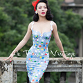 FREE SHIPPING Le Palais Vintage 2016 Summer New Sexy Light Blue Sunflower Polka Dot Shell Corset Slim Dress Women Clothing