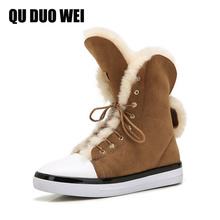 2017 Winter Genuine Leather Women Snow Boots Warm Wool Shearling Sheepskin High Top Ankle Boots For Women Flat Platform Shoes
