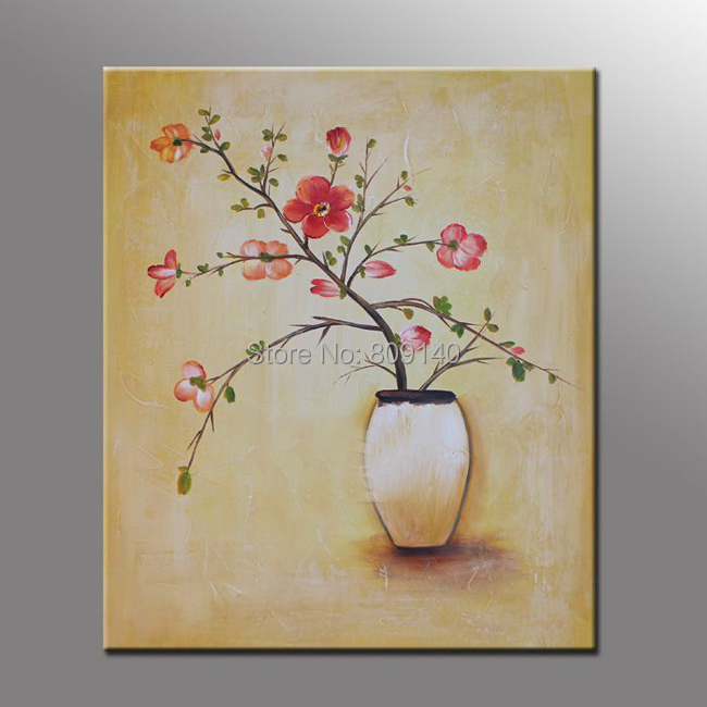 Framed abstract flower oil painting simple european style