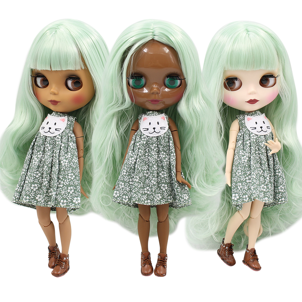 Blythe Nude Doll 1//6 Scale Factory Jointed Body White Skin Green Hair Matte Face