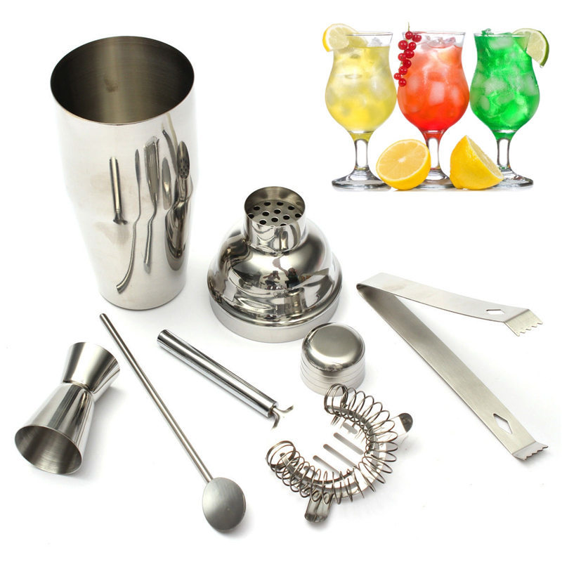 New 5pcs Set 750ml Stainless Steel Cocktail Shaker Mixer Drink Hawthorn Strainer Ice Tongs Mixing Spoon