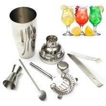 Neue 5 teile/satz 750 ml Edelstahl Cocktail Shaker Mixer Trinken Weißdorn Sieb Eiszange Rührlöffel Messbecher Bar Tool Kit