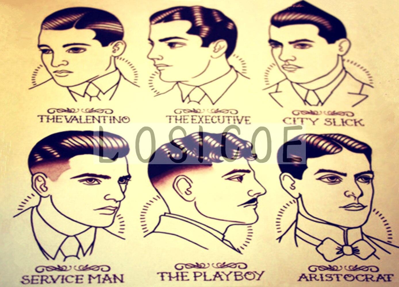 Hairdresser 30X42 CM Retro Kraft Paper Poster Tattoos Art Wall Sticker barber shop decor