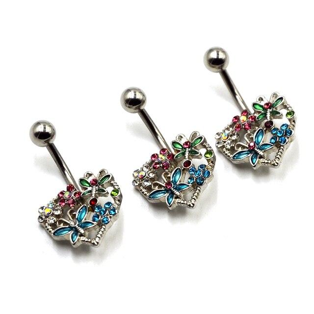 1pc Stainless Steel Erfly Flower On Heart Belly Rings Piercing Multi Gem Navel Bar