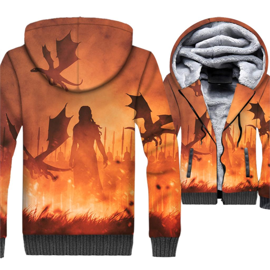 Streetwear Men's Hoodies 3D Jackets 2018 Game Of Thrones Sweatshirts Men Targaryen Fire And Blood Hoddies Mother Of Dragon Hoody