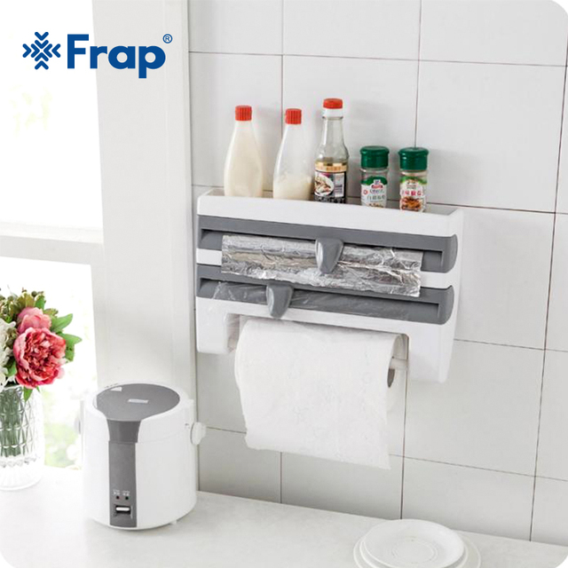 Frap Kitchen Racks Refrigerator Cling Film Storage Rack Wrap Cutter Wall Hanging Paper Towel Holder Kitchen Organizer Y14018/-1 1