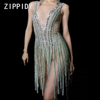 Glisten Silver Rhinestones Tassel Perspective Dress Women's Birthday Party Bodysuit Stage Female Singer Dance Show Outfit Dress