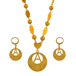 Anniyo A-Z 26 Letters Necklaces Gold Color Marshall Initial Alphabet Beads Chain Jewelry Micronesia Gifts #040121SS