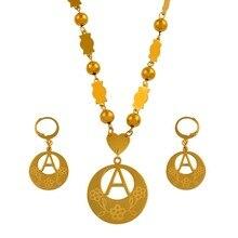 Anniyo A Z 26 mektuplar kolye altın renk Marshall İlk alfabe boncuk zincir takı mikronezya hediyeler # 040121SS