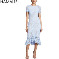 HAMALIEL European Summer Women Lace Short Sleeve Dress 2018 Runway Sky Blue Hollow Out Floral Bodycon Slim Mermaid Party Dress