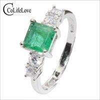 Ювелирные изделия colife Доступное роскошное Изумрудное кольцо для вечерние 5 мм натуральный SI класс Изумрудное серебряное кольцо 925 серебро и