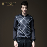 PINLI Pinly Fall 2017 NEW MENS Slim Plaid Hoodies Jacket B173209141