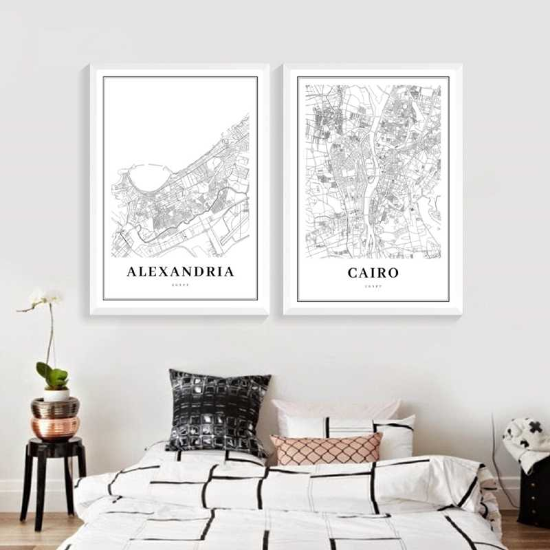 Cairo Map Poster Print , Alexandria Egypt Giza Arab Africa City Street Road Map Canvas Painting Wall Pictures Office Home Decor