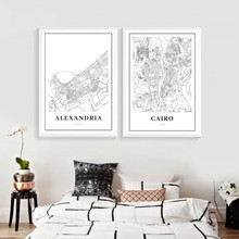 Cairo Map Poster Print , Alexandria Egypt Giza Arab Africa City Street Road Map Canvas Painting Wall Pictures Office Home Decor(China)