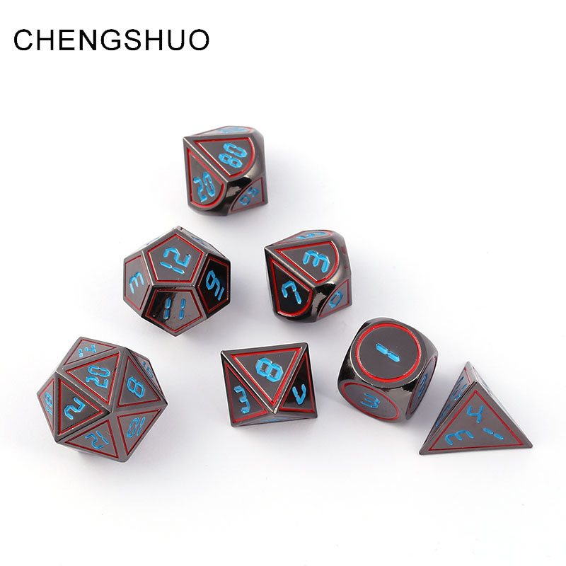 Chengshuo dnd dice metal rpg sets polyhedral dungeons and dragons d20 10 6 8 12 table games Zinc alloy red copper dices pattern