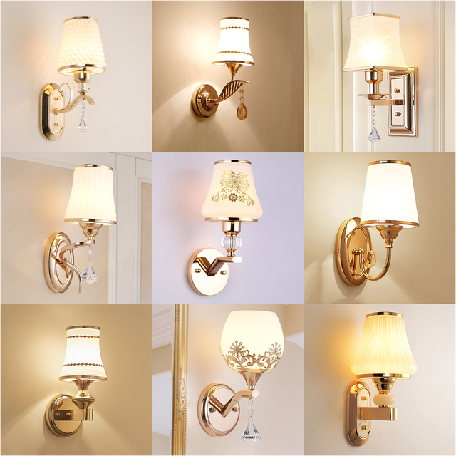 Apextech Wall Lamp European Classical Luxury Style E27 Socket Living Room Artistic Wall Lamp Hotel Bedroom Bedside Night Lights