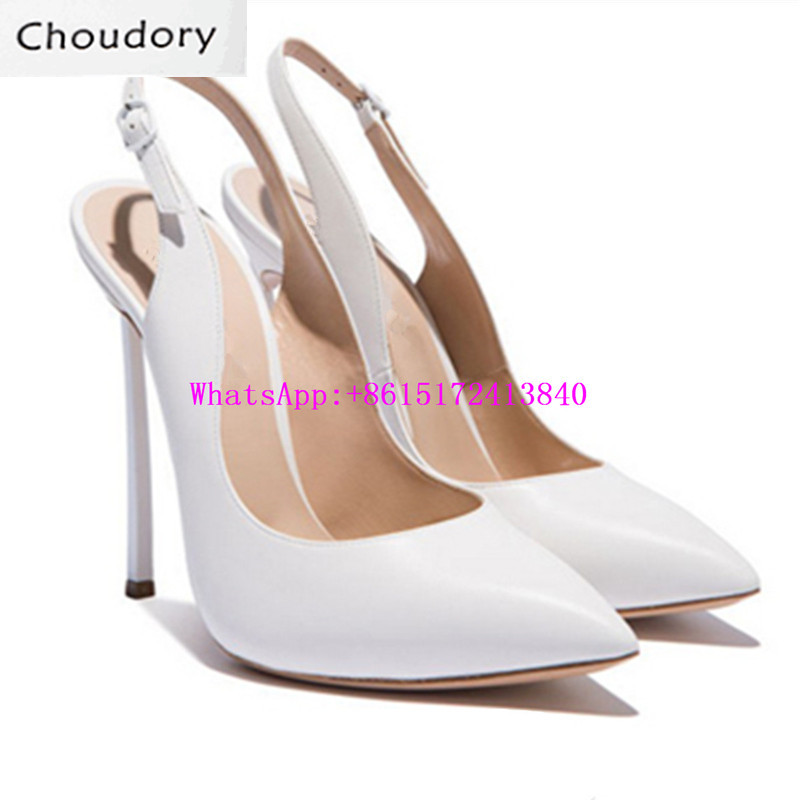 Choudory Super High Heels Sexy Dress Slingbacks Shoes Woman Thin Heels New Designer Shoes Solid Shallow Pointed Toe Women Pumps
