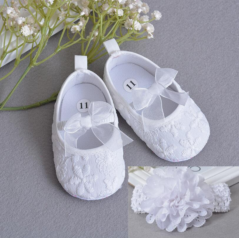 Soft Sole Flower Newborn Baby Girl Christening Shoes Headband Set 2019 Lovely Chaussure Bebe Fille Infantil Menina First Walkers