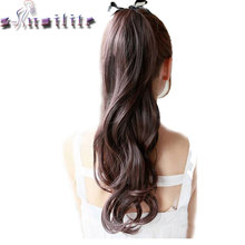S-noilite Long Curly Ribbon Ponytail Synthetic Hair Clip in Hair Extension Hair Pieces Ribbon Wrap Around Black Brown Blonde