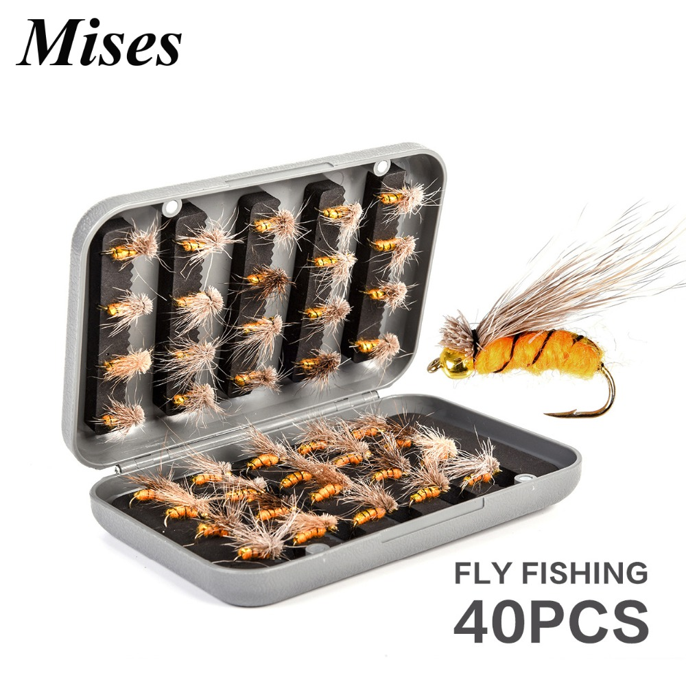 Fishhooks Radient Mises 40pcs Box-packed Bionic Flies Fly Fishing Hook Gold Hand Tied Artificial Bait Fishhook Professional Fishing Gear Fishing