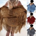 New Women Soft Faux Suede Fringed Shawl Scarves Soild Tassel Jacket For Ladies Free Shipping
