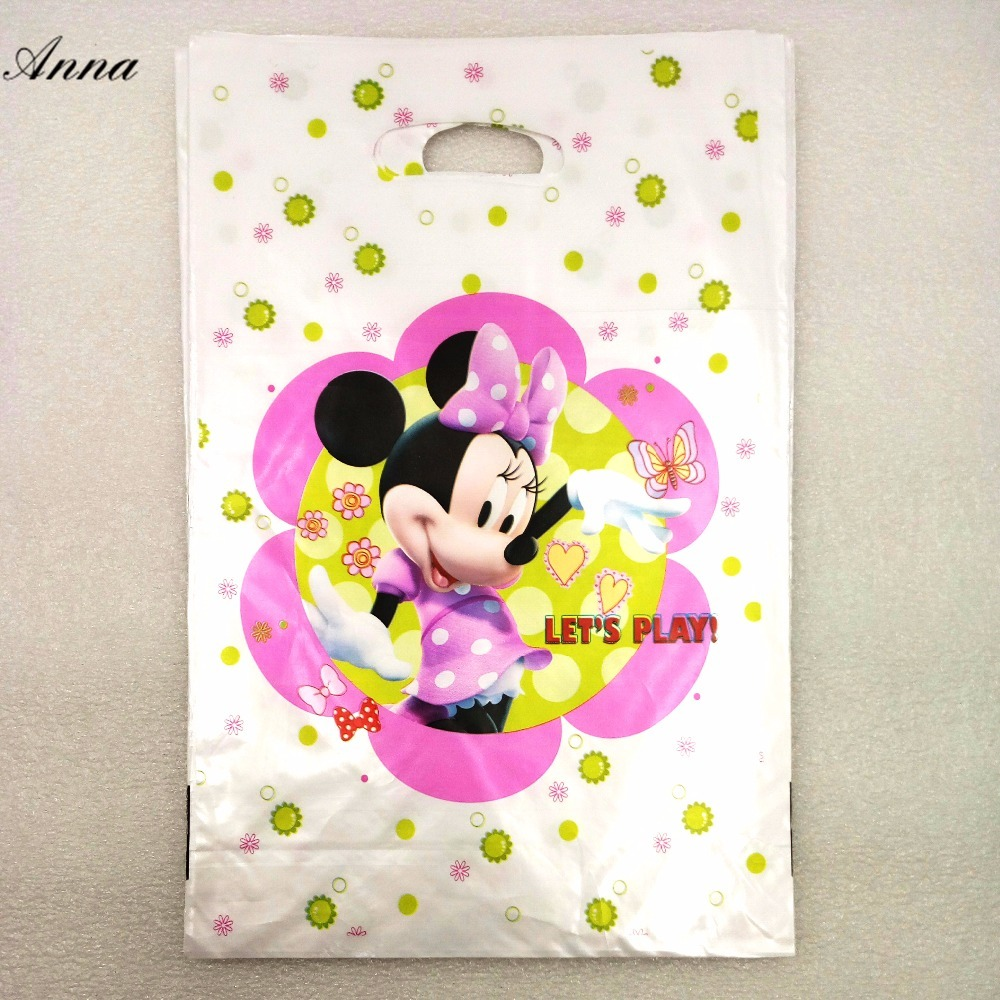 10pc/set Minnie Mouse Birthday Party Supplies Baby Favor Decor Event Gift Bag Birthday Minnie Mouse Party For Party Supplies