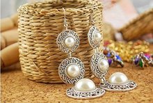 Fashion Hot Selling New Style Retro Noble WOmen 3 Circle White Simulated Pearl Earrings E19 fashion pearl earrings hot selling new style retro noble women 3 circle white simulated dangle earrings