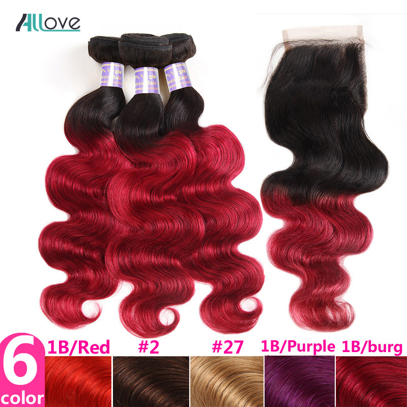 Allove T1B BURGUNDY Bundles with Closure Ombre Brazilian Hair Bundles with Closure Non Remy Human Hair