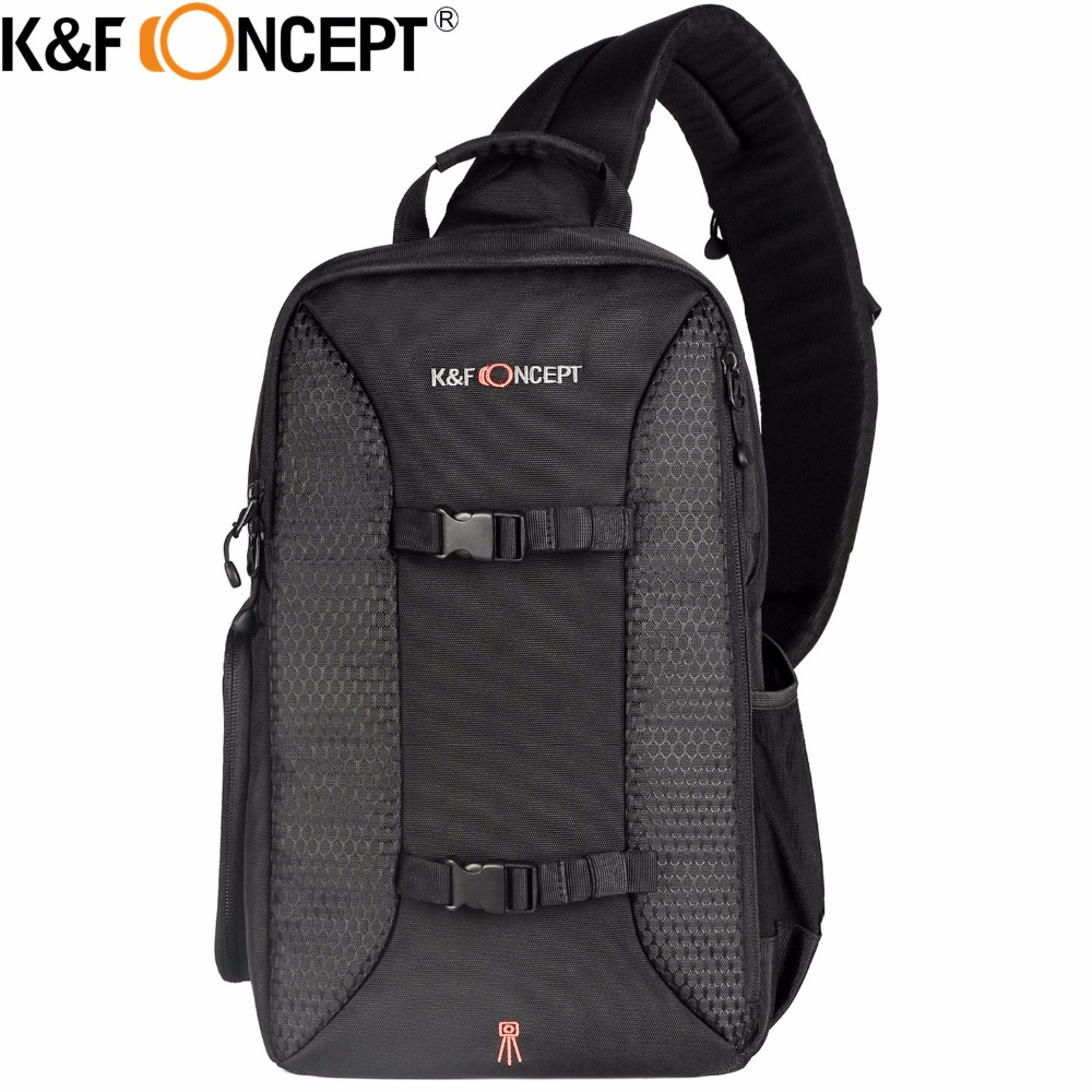 K&F CONCEPT Camera Sling Backpack Classic Side Compartments Travel Shoulder Bag Case for 7 Ipad with Tripod Holder Rain Cover hot sale genuine lowepro nova 190 aw camera bag single shoulder bag case backpack with all weather cover