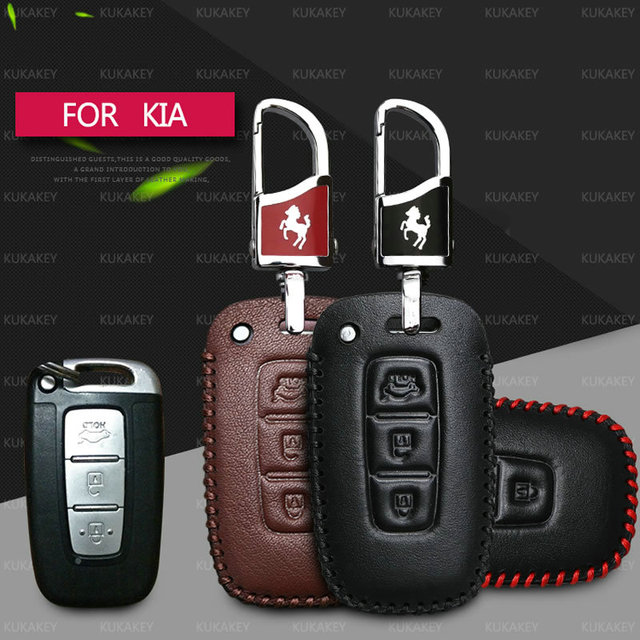 Genuine Leather Car Key Case Cover Holder Keychain For Hyundai