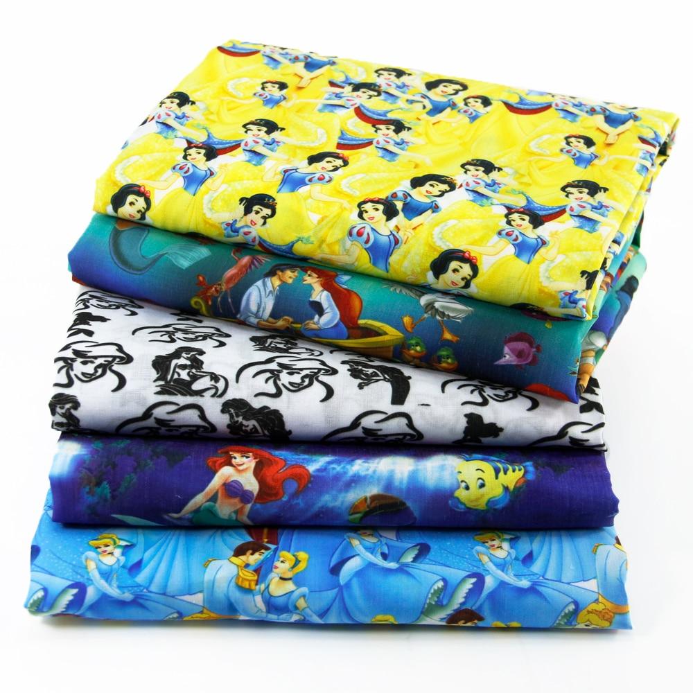 50 * 145CM patchwork tryckt Cartoon Polyester bomullstyg för Tissue Kids Bedding hemtextil för Sy Tilda Doll, c458