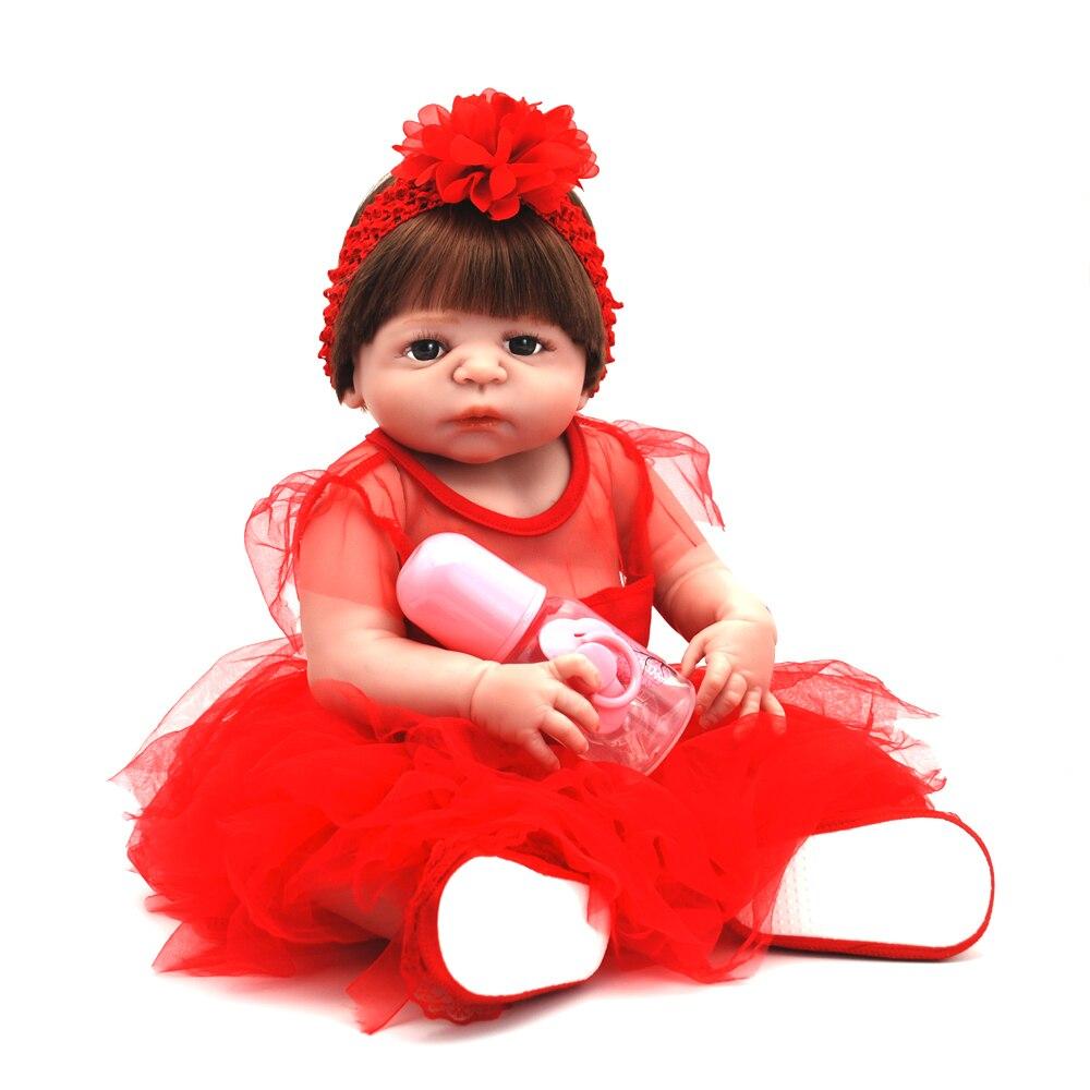 NicoSeeWonder 22 Inch Bonecas Bebe Reborn Baby Dolls Lifelike Full Silicone Reborn Toddler Toys Girl Doll With Red Dress Gift 70cm silicone reborn baby doll toys lifelike 28 inch big size princess toddler girl reborn dolls toys clothing shop model doll